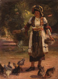 Peasant woman with chickens