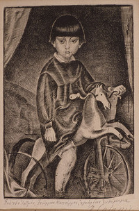 Child with wooden horse